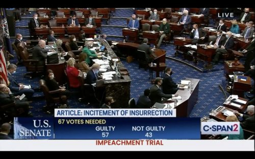 The final Senate vote in the second impeachment trial of US President Donald Trump.