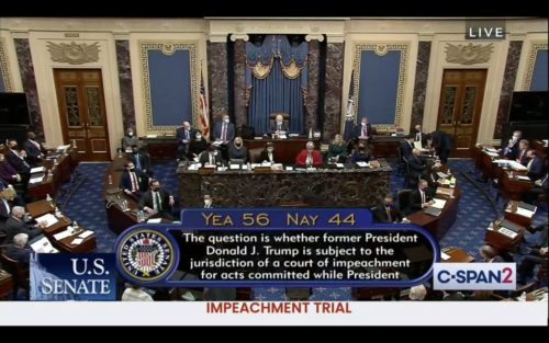 Voting results in the US Senate on whether the second impeachment trial of Donald Trump is constitutional.