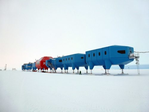 The Halley Research Station is a research facility in Antarctica. This image is of the Halley VI buildings consisting of a string of eight modules jacked up on hydraulic legs to keep it above the accumulation of snow.