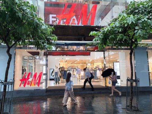 H&M store in Hong Kong in Causeway Bay on Great George Street in July 2020.