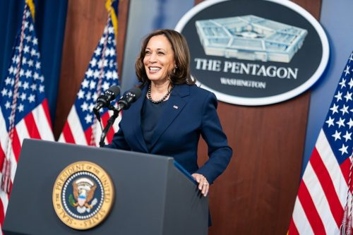 Vice President Kamala Harris delivers remarks during a press conference Wednesday, Feb. 10, 2021, at the Pentagon in Arlington, Virginia.