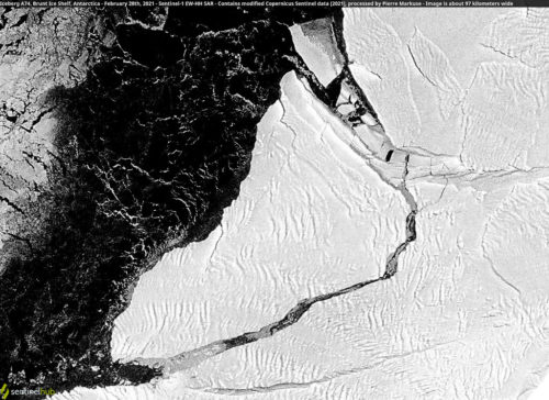 Iceberg A74, Brunt Ice Shelf, Antarctica - February 28th, 2021