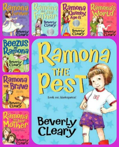 Collage of Beverly Cleary books featuring Ramona Quimby.
