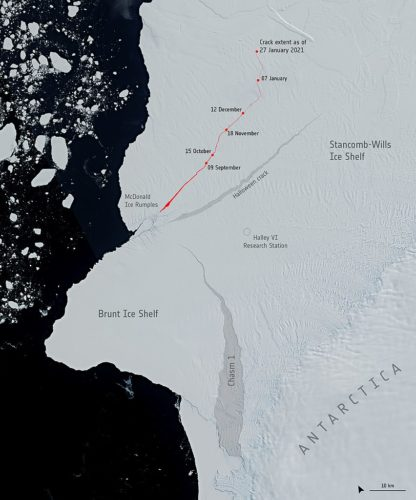 A new crack has been spotted in the portion of the floating ice shelf north of the McDonald Ice Rumples, which may prompt the calving of multiple bergs. The extent of this new crack can be seen the top of the image.