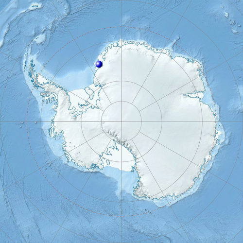 Physical Location map of Antarctica with Brunt Ice Shelf marked.