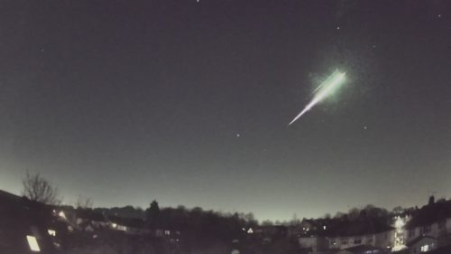 An image taken from a video of the February 28 meteorite streaking through the sky.