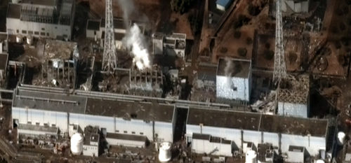 The Fukushima I Nuclear Power Plant after the 2011 Tōhoku earthquake and tsunami.