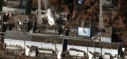 The Fukushima I Nuclear Power Plant after the 2011 Tōhoku earthquake and tsunami.