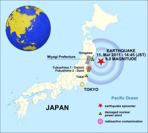 EARTHQUAKE 2011-03-11 Japan location map with side map of the Ryukyu Islands