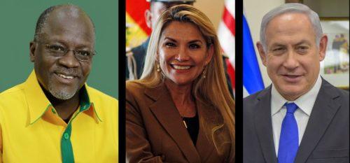 Headshots of John Magufuli, Jeanine Áñez, and Benjamin Netanyahu.