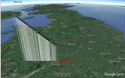 The path of the February 28 meteor superimposed on a 3D map of England showing where pieces of the meteorite may have landed.
