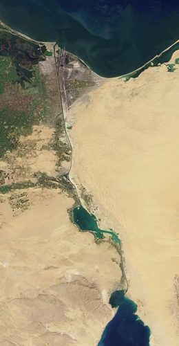 NASA image of the Suez Canal, taken by the MISR instrument on the Terra satellite on January 30, 2001. Cropped.