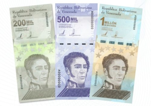 Three new banknotes, released by the Central Bank of Venezuela as a result of inflation. One of the bills is worth 1 million bolivars.