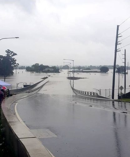 Windsor Bridge submerged in the 2021 NSW floods