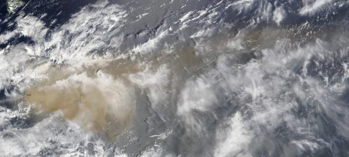 Satellite image of the La Soufrière volcano during the 2020-2021 eruptions, showing volcanic ash spreading to the islands of Saint Vincent, Barbados, and over the Atlantic ocean.