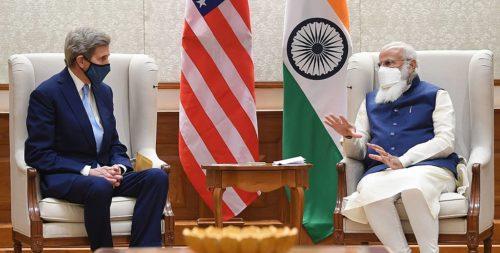 The U.S. Special Presidential Envoy for Climate, Mr. John Kerry meeting the Prime Minister, Shri Narendra Modi, in New Delhi on April 07, 2021.