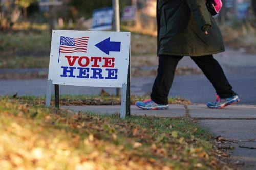Vote Here sign in Minneapolis, Minnesota.
