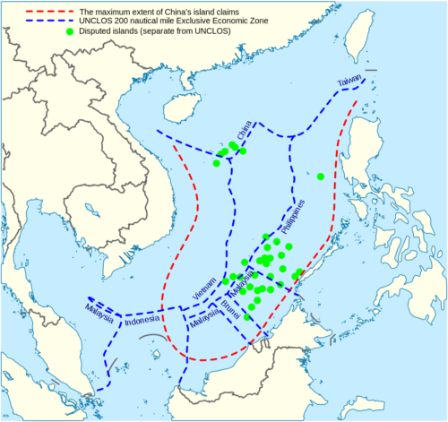 China's maritime claim (red) and UNCLOS exclusive economic zones (blue) in the South China Sea