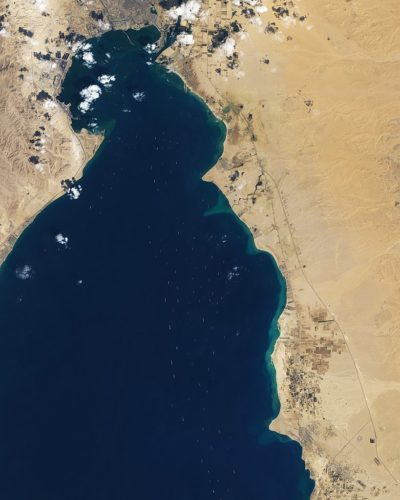 2021 Suez Canal obstruction as seen by the Landsat 8 satellite.