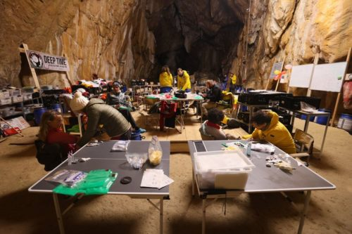 Deep Time campers getting blood tests during their 40-day stay in the Lombrives cave.