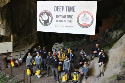 Deep Time campers in front of the Lombrives cave after the 40-day experiment.