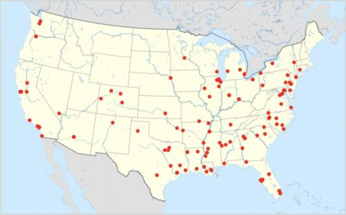 Mass shootings in the US in 2021 up to April 18 marked on a Location map of United States of America (without Hawaii and Alaska).