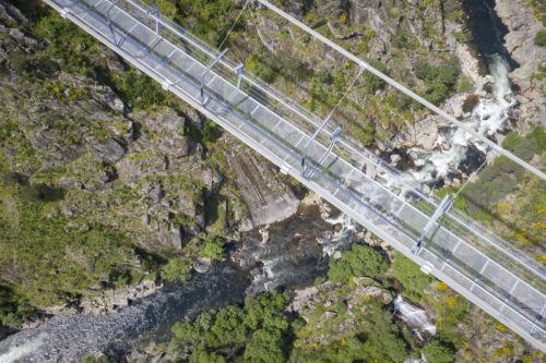 The 516 Arouca bridge in Portugal's Arouca Geopark. View from above looking down through the bridge to the river below.