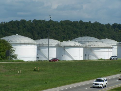 Colonial Pipeline Storage tanks outside Birmingham Alabama. Highway in the foreground.