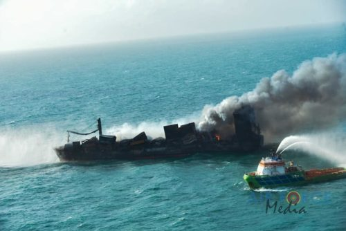 View from the air of the burning container ship MV X-Press Pearl off the coast of Sri Lanka.