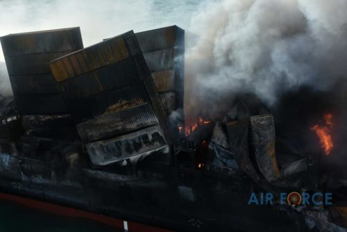 Picture of burning containers on the container ship MV X-Press Pearl off the coast of Sri Lanka.