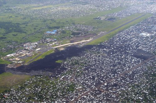 Goma Airport. Evident is the destroyed northern 1km end of the runway, after the 2002 eruption of Nyiragongo, 2 November 2006