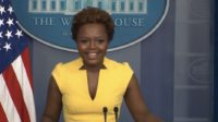 Principal Deputy Press Secretary Karine Jean-Pierre conducts press briefing at the Biden White House, becoming first openly gay spokeswoman and second Black woman ever to hold the role.