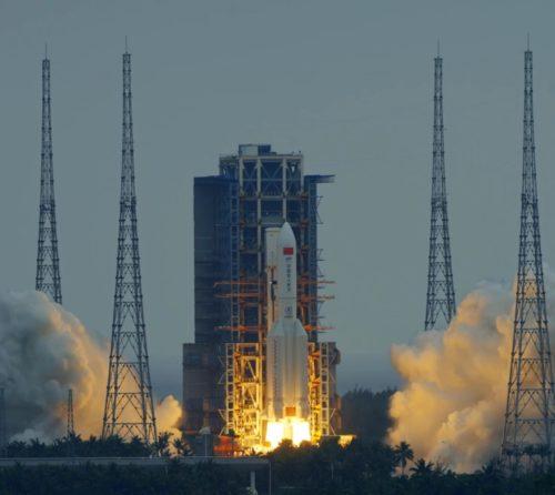 Launch of Tianhe Core Module using the Long March 5B rocket.