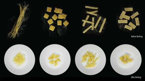 Several kinds of flat-pack pasta shown before and after boiling.