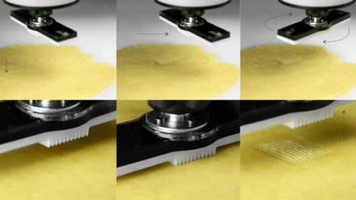 Six-picture collage of the stamping process for flat-pack pasta.