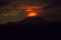 The glow from the lava lake of the Nyiragongo volcano can clearly be seen at night