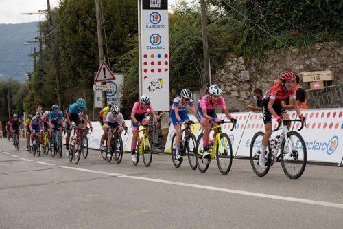 Cyclists on the col de Rimiez during the 2020 La Course by Le Tour de France