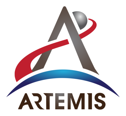 A faithful recreation of the official insignia of the Artemis program, an initiative by the National Aeronautics and Space Administration (NASA) of the United States to establish a permanent human presence on the Moon.