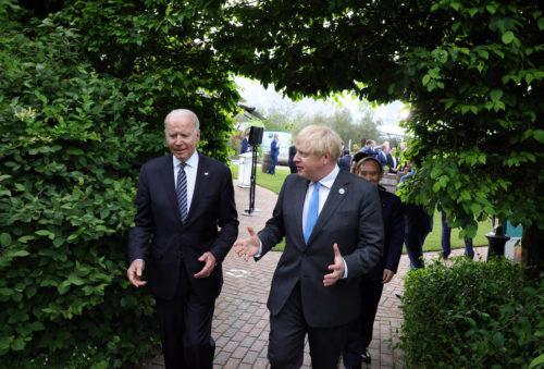 11/06/2021. London, United Kingdom. UK Prime Minister Boris Johnson walks with US President Joe Biden on the first day of the 2021G7 Summit.