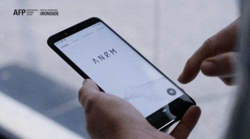 Screenshot from a video showing ANoM running on a cell phone.