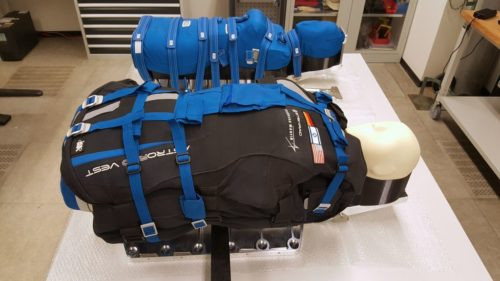 Two torsos that will travel on the Artemis I mission, strapped into seats.
