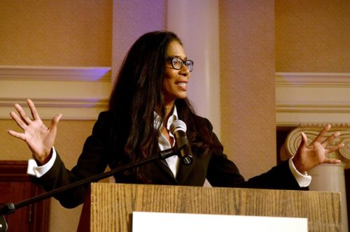 Judy Smith, American crisis manager and inspiration for television program Scandal, speaking at the Roanoke College Regional Forum in 2014.