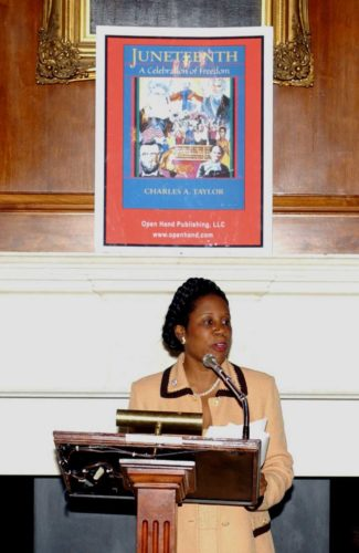 United States congressional representative Sheila Jackson Lee campaigns for Juneteenth to be a national holiday.