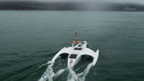 Mayflower Autonomous Ship during sea trials in March, 2021.