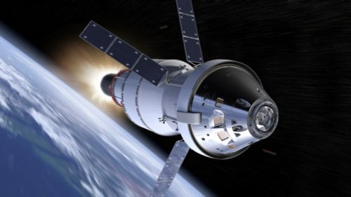 An artist's idea of the Orion capsule as it travels through space.