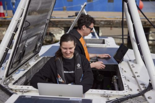 IBM Researchers Rosie Lickorish and James Sutton at work on MAS, April 2021.