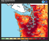 Graphic of Western Washington showing National Weather Service's predicted high temperatures for the day of June 28, 2021.