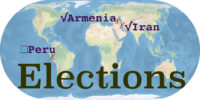World map with the word Elections. Peru, Armenia, and Iran are marked.