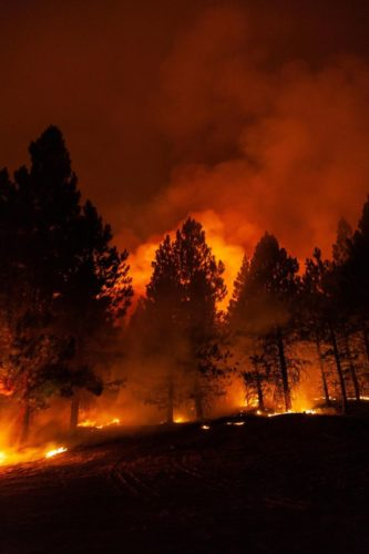 Nighttime firefighting operations during the Bootleg fire in Oregon on July 15, 2021.