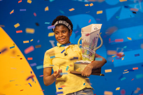 Zaile Avant-garde, holding her trophy after winning the Scripps National Spelling Bee on July 08, 2021.